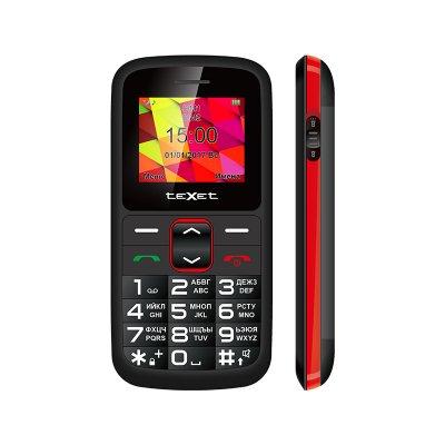 Кнопочный мобильный телефон Texet TM-B217 в черном цвете. Вид спереди.