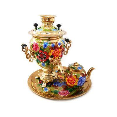 Самовар электрический «Цветы на золотом» Sam0217(N). В набор входят самовар, чайник и поднос.