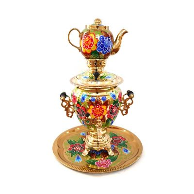 Самовар электрический «Цветы на золотом» Sam0217(N). В набор входят самовар, чайник и поднос.-2