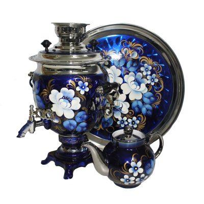 Самовар электрический «Жостово на синем» Sam0207(N). В набор входят самовар, чайник и поднос.-2