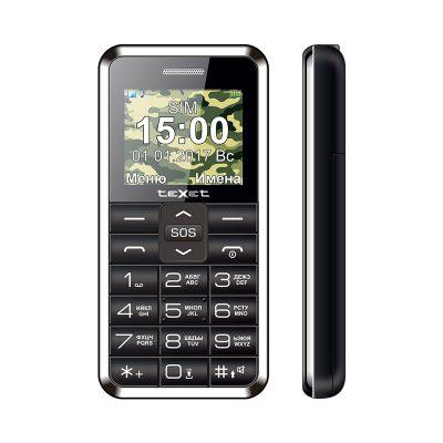 Кнопочный мобильный телефон Texet, TM-101 в черном цвете. Вид спереди.