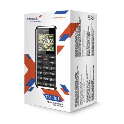Кнопочный мобильный телефон Texet, TM-101 в черном цвете. В упаковке.