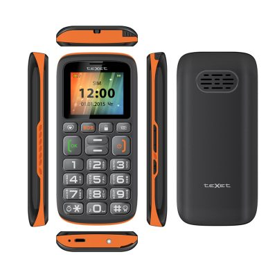 Кнопочный мобильный телефон Texet TM B115 в черном цвете с оранжевой вставкой. Вид сбоку и сзади.