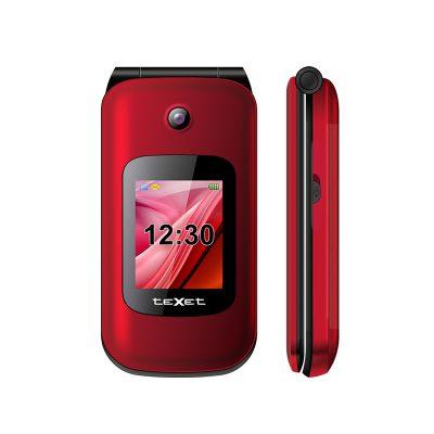 Телефон-раскладушка Texet TM-B216 в красном цвете. Вид спереди.