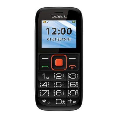 Кнопочный мобильный телефон Texet ТМ-117 в черном цвете. Вид спереди.