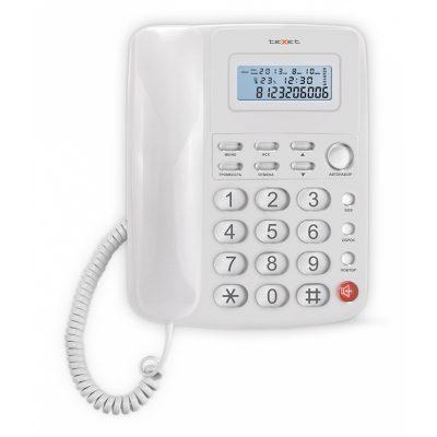 Домашний телефон с большими кнопками(бабушкофон) Texet TX-250 в белом цвете. Вид спереди.