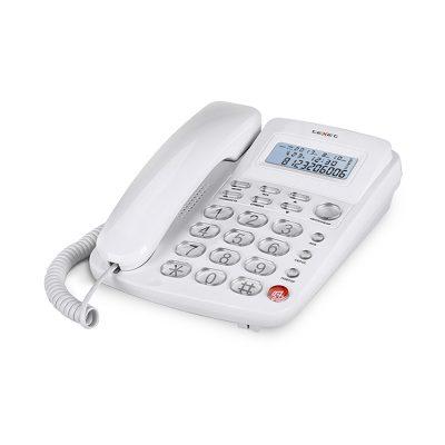 Домашний телефон с большими кнопками(бабушкофон) Texet TX-250 в белом цвете. Вид сбоку.