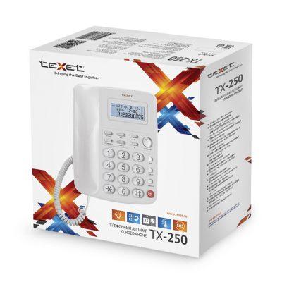 Домашний телефон с большими кнопками(бабушкофон) Texet TX-250 в белом цвете. В упаковке.