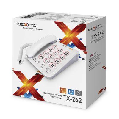 Домашний телефон с большими кнопками(бабушкофон) Texet TX-262 в белом цвете. В упаковке.