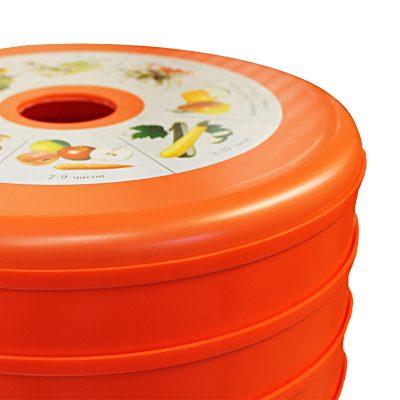 Сушилка для фруктов, овощей, грибов Суховей электрическая, 5 поддонов, оранжевый цвет.-4