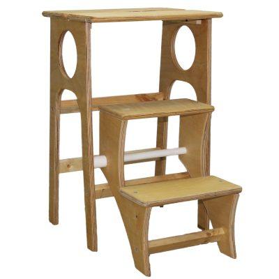 Табурет-стремянка деревянная неокрашенная. Вид спереди.