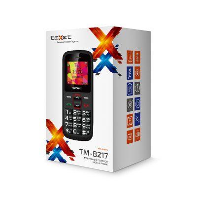 Кнопочный мобильный телефон Texet TM-B217 в черном цвете. В упаковке.