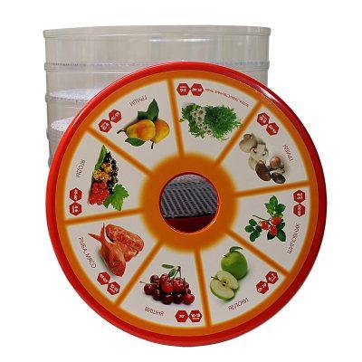 Сушилка для фруктов, овощей и грибов Любава СОЗ 520 электрическая, красный цвет.-2