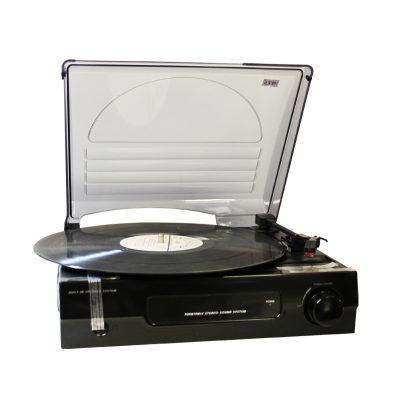 Виниловый проигрыватель Record Player имеет форму чемодана черного цвета.