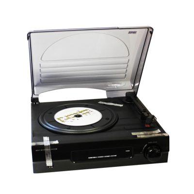Виниловый проигрыватель Record Player имеет форму чемодана черного цвета.-3