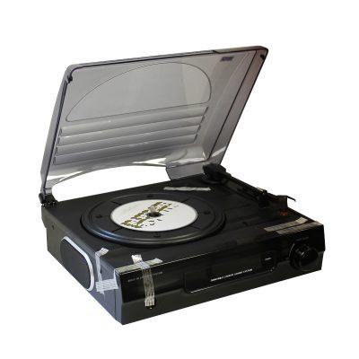 Виниловый проигрыватель Record Player имеет форму чемодана черного цвета.-2
