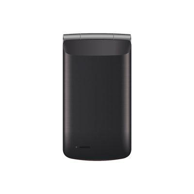 Телефон-раскладушка Texet TM-404 в черном цвете. Вид спереди.