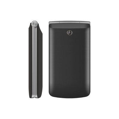 Телефон-раскладушка Texet TM-404 в черном цвете. Вид сбоку и сзади.
