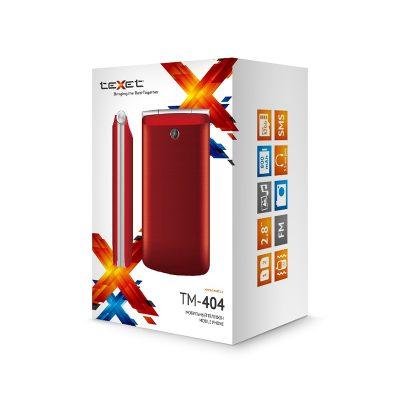 Телефон-раскладушка Texet TM-404. В упаковке.