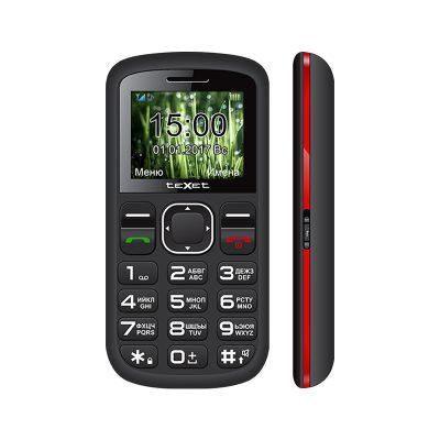 Кнопочный мобильный телефон Texet TM-B220 в черном цвете с красной вставкой. Вид спереди.
