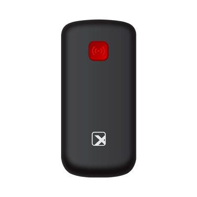 Кнопочный мобильный телефон Texet TM-B220 в черном цвете с красной вставкой. Вид сзади.