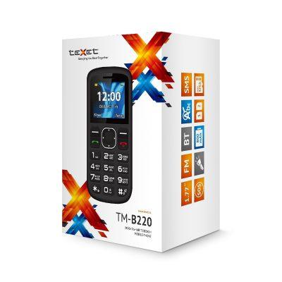 Кнопочный мобильный телефон Texet TM-B220 в черном цвете с красной вставкой. В упаковке.