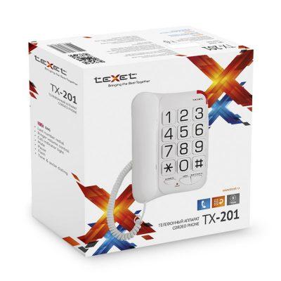 Домашний телефон с большими кнопками(бабушкофон) Texet ТХ-201 в белом цвете. В упаковке.
