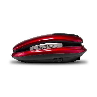 Проводной телефон(бабушкофон) Texet ТХ-236 в красном цвете. Вид сбоку.