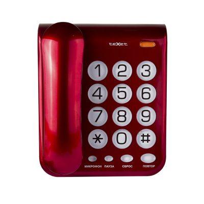 Домашний телефон с большими кнопками(бабушкофон) Texet ТХ-262 в красном цвете. Вид спереди.