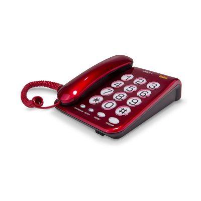 Домашний телефон с большими кнопками(бабушкофон) Texet ТХ-262 в красном цвете. Вид сбоку.