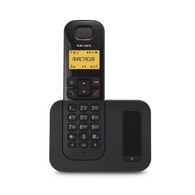 Радиотелефон Texet TX-D6605А в черном цвете. Вид спереди.