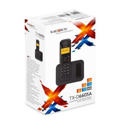 Радиотелефон Texet TX-D6605А в черном цвете. В упаковке.