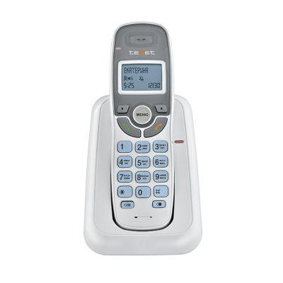 Радиотелефон Texet TX-D6905A в белом цвете. Вид спереди.