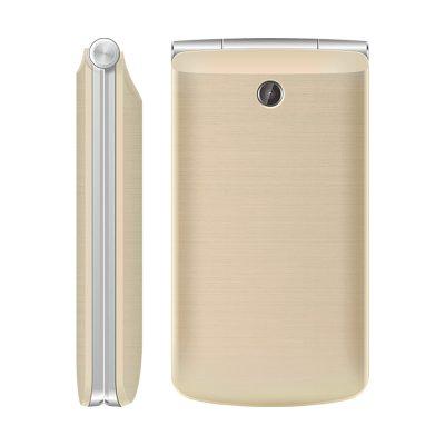 Телефон-раскладушка Texet TM-404 в цвете золото. Вид спереди.