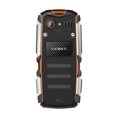 Кнопочный мобильный телефон Texet TM-513R в черном цвете с оранжевой вставкой. Вид сзади.