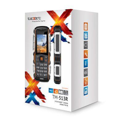 Кнопочный мобильный телефон Texet TM-513R в черном цвете с оранжевой вставкой. В упаковке.