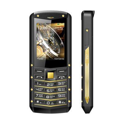 Кнопочный мобильный телефон Texet TM-B307 в черном цвете с желтойй вставкой. Вид спереди.