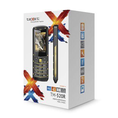 Кнопочный мобильный телефон Texet TM-B307 в черном цвете с желтойй вставкой. В упаковке.