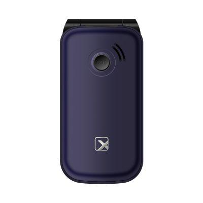 Телефон-раскладушка Texet TM-B216 в синем цвете. Вид сзади.