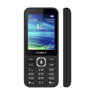 Кнопочный мобильный телефон Texet TM-D327 в черном цвете. Вид спереди.
