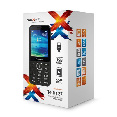 Кнопочный мобильный телефон Texet TM-D327 в черном цвете. В упаковке.
