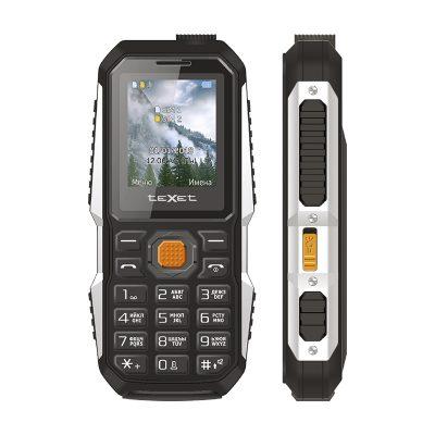 Кнопочный мобильный телефон Texet TM-D429 в черном цвете. Вид спереди.