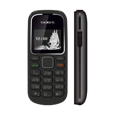 Кнопочный мобильный телефон Texet TM-121 в черном цвете.