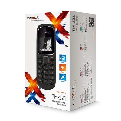 Кнопочный мобильный телефон Texet TM-121 в черном цвете. В упаковке.