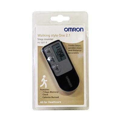 Шагомер Omron черно-серого цвета используется для измерения количества шагов.-2