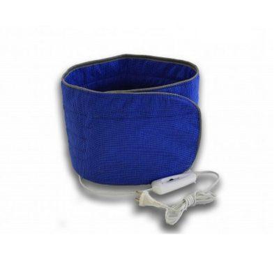 Электропояс для пресса размером 25х125 см в синем цвете с подогревом.