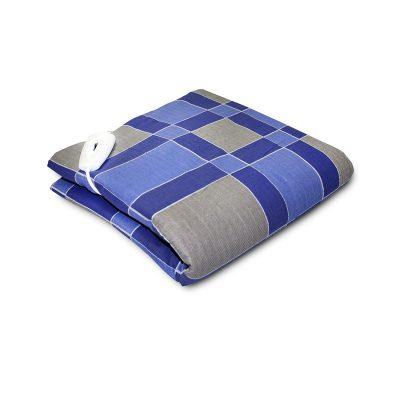 Электроодеяло размером 145х75 см с синими и серыми квадратами.