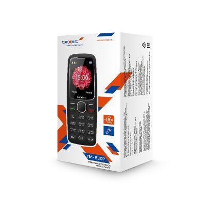 Кнопочный мобильный телефон Texet TM-B307 в черном цвете. Вид спереди.
