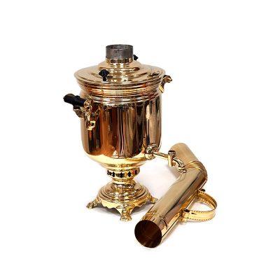 Дровяной самовар «Классический». В набор входят самовар, чайник, поднос и труба.-3